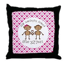 32nd Anniversary Love Monkeys Throw Pillow