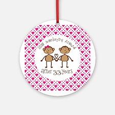 33rd Anniversary Love Monkeys Ornament (Round)