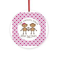 36th Anniversary Love Monkeys Ornament (Round)