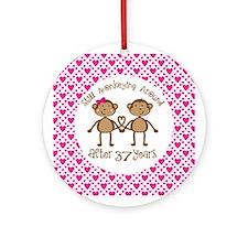 37th Anniversary Love Monkeys Ornament (Round)