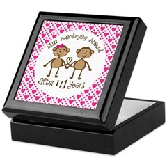 41st anniversary love monkeys keepsake box 41st for Home decor 41st
