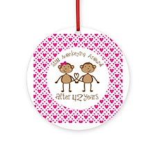 42nd Anniversary Love Monkeys Ornament (Round)