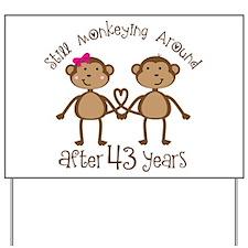 43rd Anniversary Love Monkeys Yard Sign