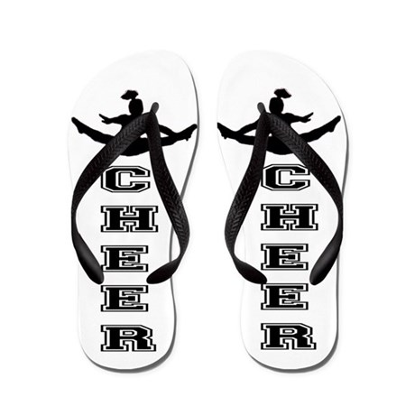 Cheer White and black Flip Flops