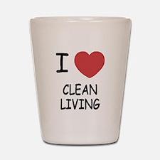 I heart clean living Shot Glass