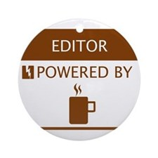 Editor Powered by Coffee Ornament (Round)