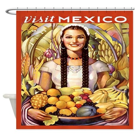 Mexico Travel Poster Shower Curtain