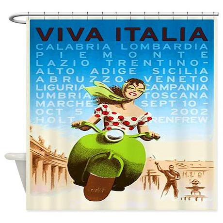 Viva Italy Poster Shower Curtain