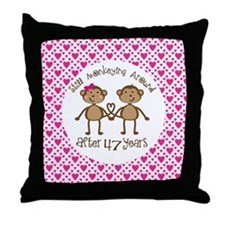 47th Anniversary Love Monkeys Throw Pillow