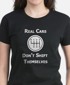 Real Cars Don't Shift Themselves (wht) Tee