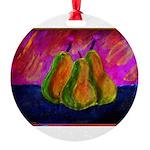 Three Pears Round Ornament