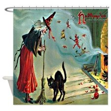Vintage Halloween Witch Black Cat Shower Curtain