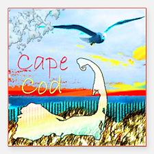 """Cape Cod Gull Square Car Magnet 3"""" x 3"""""""