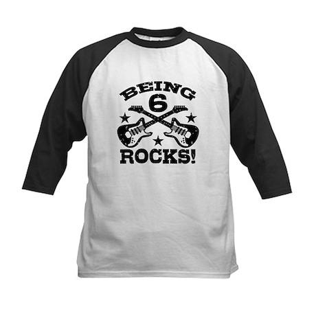 Being 6 Rocks Kids Baseball Jersey