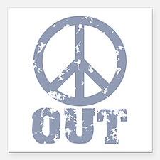 "Peace Out Square Car Magnet 3"" x 3"""