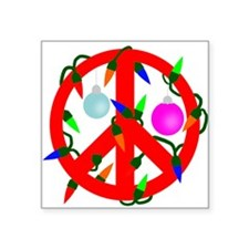 "peacechristmasred.png Square Sticker 3"" x 3"""