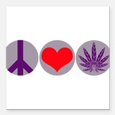 "peacelovepurplleaf1.png Square Car Magnet 3"" x 3"""