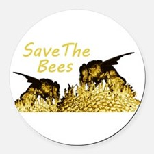 savethebees.png Round Car Magnet