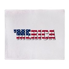 Merica USA Throw Blanket