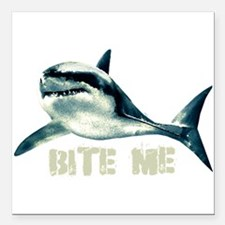 """Bite Me Shark Square Car Magnet 3"""" x 3"""""""
