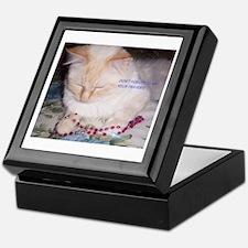Cat with Rosary Keepsake Box