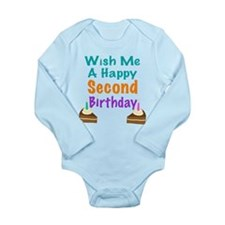 Wish me a Second Birthday Long Sleeve Infant Bodys