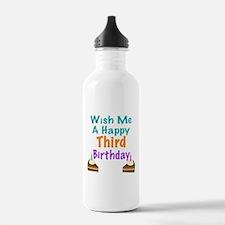 Wish me a happy Third Birthday Water Bottle