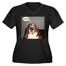 Basset thoughts Women's Plus Size V-Neck Dark T-Sh