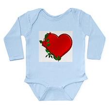 Rose Heart Border Long Sleeve Infant Bodysuit