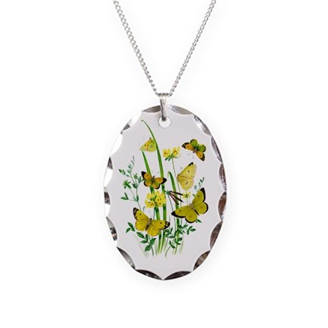 Butterflies of Summer Necklace Oval Charm