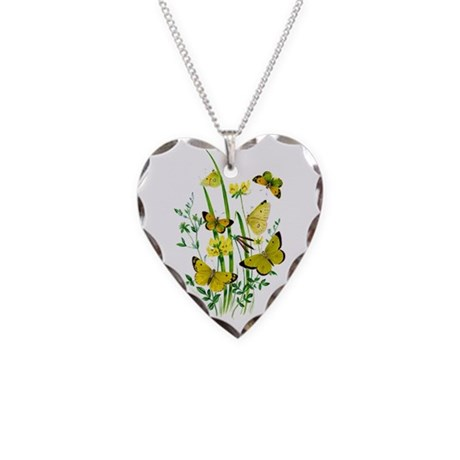 Butterflies of Summer Necklace Heart Charm