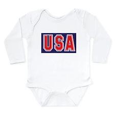 USA w STAR Long Sleeve Infant Bodysuit