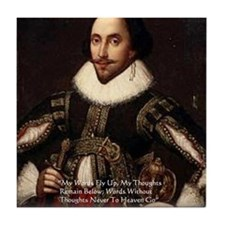 Shakespeare Words Fly Up Quote Tile Coaster