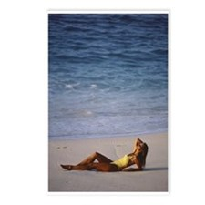 Woman in Yellow Swimsuit on Beach Postcards (Packa