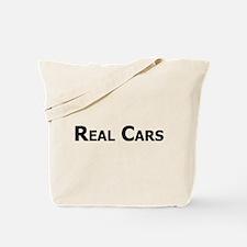 Real Cars text Tote Bag