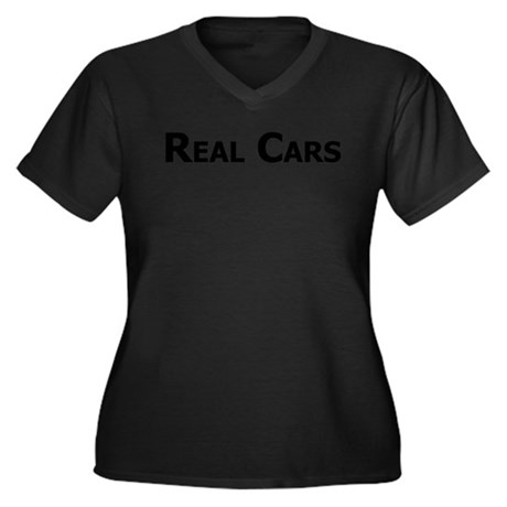 Real Cars text Women's Plus Size V-Neck Dark T-Shi