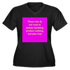 dali19.png Women's Plus Size V-Neck Dark T-Shirt