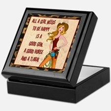 """All A Cowgirl Needs"" Keepsake Box"