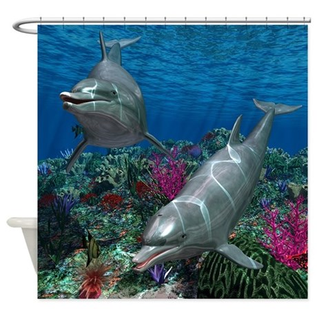 Dolphins Shower Curtain By Gatterwe