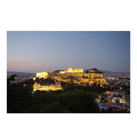 View of the Acropolis at dusk