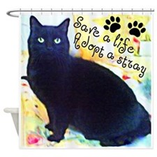 Stray Black Kitty Shower Curtain