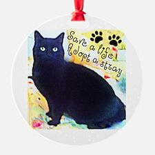 Stray Black Kitty Ornament