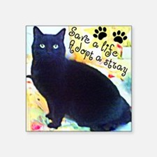 "Stray Black Kitty Square Sticker 3"" x 3"""