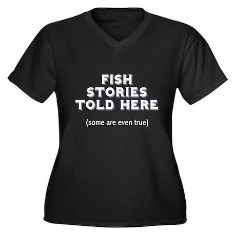 Fish Stories Women's Plus Size V-Neck Dark T-Shirt