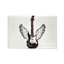 Winged Guitar Rectangle Magnet