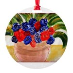 Flowers in Pot Round Ornament