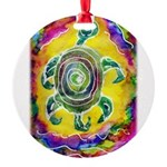 Abstract Turtle Round Ornament
