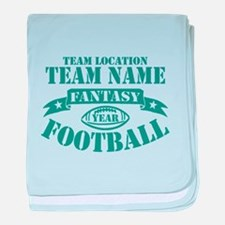 PERSONALIZED FANTASY FOOTBALL TEAL baby blanket