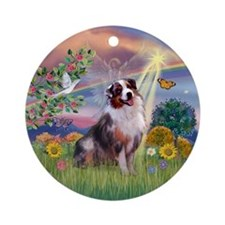 Cloud Angel - Australian Shepherd Ornament (Round)
