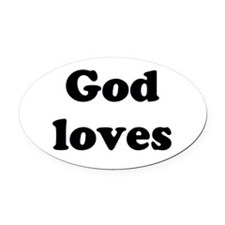 Cute Love Oval Car Magnet